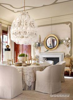 Mrs Havisham-like chandelier wrapped in gauzy tulle. Another Design by Melanie Turner