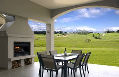 Elegantly sheltered outdoor area to gaze over the green rolling hills. House, Home, Windows, Areas, Views, Inspiration, Fireplace, Exterior