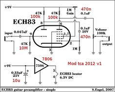 12AU7 / ECC82 Cathode Follower Tube Preamplifier Schematic
