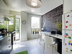 Chalboard Wall + Dining Counter/Computer Station http://www.hgtv.com/kitchens/tips-for-turning-your-small-kitchen-into-an-eat-in-kitchen/pictures/page-17.html?soc=pinterest