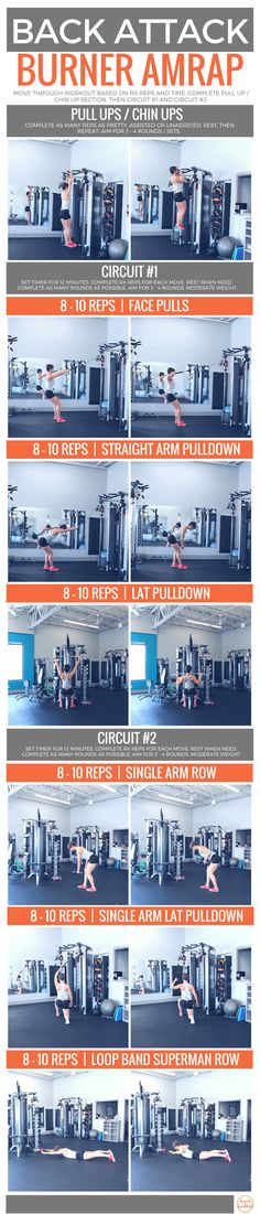 This Back Attack Burner AMRAP is killer. Utilizing a variety of equipment, these are some of my personal favorite moves for building a strong back. Fun Workouts, At Home Workouts, Muscle Workouts, Body Workouts, Workout Routines, Fit Girl Motivation, Fitness Motivation, Fitness Goals, Strength Training Workouts