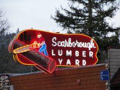 Scarborough Lumber Yard neon sign