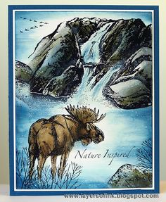 Elk at waterfall - Layers of ink, scenic stamping done with Stampscapes and Sutter stamps, dye ink on glossy cardstock.