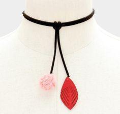 "New 12""L Mesh Pom Pom & Faux Suede Leaf Choker Necklace #Unbranded #Choker"