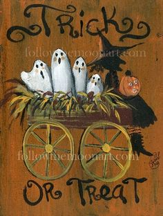 Folk Art Halloween Ghost Witch Pumpkin Spooky Wood Acrylic Original Painting…