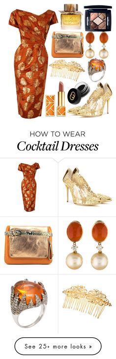 """Bronze Lame Dress"" by pulseofthematter on Polyvore featuring Oscar de la Renta, Rafe, Christian Dior, Tory Burch, Burberry and Gucci"