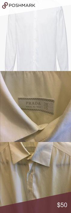 PRADA MENS dress shirt, soft white, Size 38-15 PRADA MENS dress shirt, button down, soft white, Size 38-15.  Cotton blend, Designer, Luxury, Made in Italy. Prada Tops Button Down Shirts