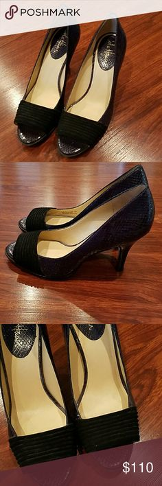 Like new Cole Haan Nike Air gorgeous blue heels 9 Gorgeous barely used the part across the toe is a crushed velour velvety like material you will get major compliments has a hint of black in it too Cole Haan Shoes Heels