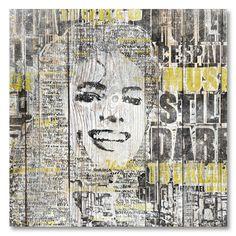 Tableau décoratif effet bois Mickael Jackson en mots