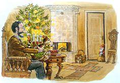 Pettersson und Findus Morgen Findus, wird's was geben 1995 Christmas Feeling, Christmas Art, Trolls, Tove Jansson, Cartoon Art Styles, Typography Prints, Children's Book Illustration, Crazy Cats, Cute Cartoon