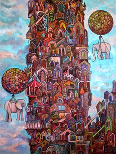 """No Name City""    Acrylic and Indian Ink on canvas  size 40/30 inch http://www.katia-goa.com/  http://www.facebook.com/KatiaGoaArt  #blue #pink #happy #birthday #art #painting #dream #city #balloon #elephant #architecture #design #mad"
