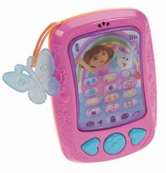 """Fisher-Price Dora The Explorer: Dora and Friends Cell Phone by Fisher-Price. $11.99. From the Manufacturer                New modern styled smart phone for Dora, Fall 2013. Features touch screen styling with a lenticular label with number pad in one view, and Dora """"adventure applications"""" on the other view. Send and receive call from Dora and her friends. Press the lenticular """"touch screen"""" to hear dialing sounds and phrases or reminders that prompt you to check..."""
