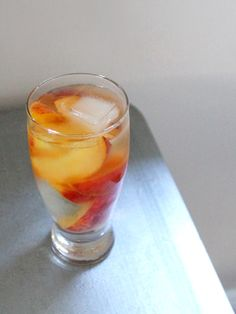 Wine and peach cocktail
