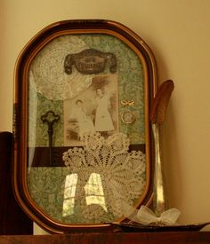 Antique Shadowbox Bubble frame Assemblage...need to do this with pics of my mom and grandparents