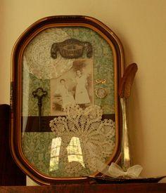 Antique Shadowbox Bubble frame Assemblage