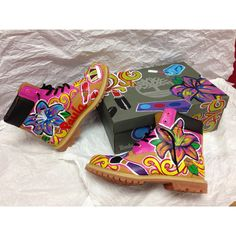 Custom Hand painted Timberlands ($100) found on Polyvore
