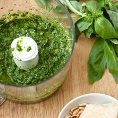 The best pesto recipe with basil, pine nuts and parmesan that can easily be made dairy- and gluten-free. Easy Healthy Recipes, Healthy Cooking, Easy Meals, Vegan Recipes, Healthy Eating, Cooking Recipes, Uk Recipes, Healthy Foods, Homemade Pesto