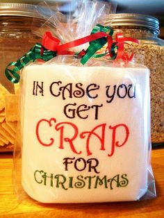cant wait to add this to my toilet paper embroidery stash! Christmas Gag Gift - toilet paper! LMAO!!