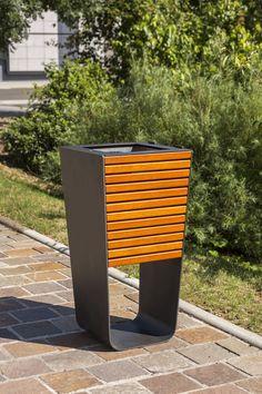 Poubelle publique / encastrable / en acier / en bois KARMA Concept Urbain