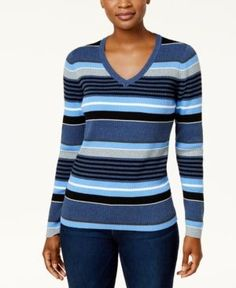Karen Scott Petite Cotton Striped Sweater, Created for Macy's - Blue P/XS