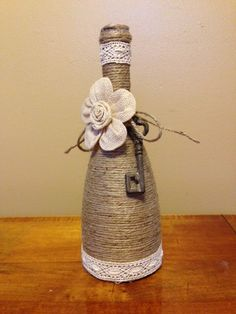 Wine bottle wrapped in jute, Birthday gift for a friend.