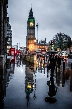 London in the rain, England