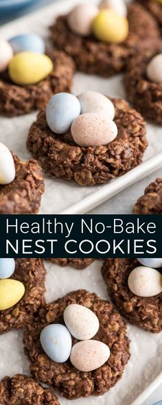 These Healthy No-Bake Chocolate Peanut Butter Easter Nest Cookies Are Made With Only 8 Good-For-You Ingredients And Ready In 15 Minutes They're The Perfect Treat To Celebrate Easter Gluten-Free, Dairy-Free, Refined-Sugar Free And Vegan Via Joyfoodsunshine Valentine Desserts, Mini Desserts, Easter Recipes, Holiday Recipes, Appetizer Recipes, Dessert Recipes, Chocolate Peanuts, Chocolate Peanut Butter, Vegan Chocolate