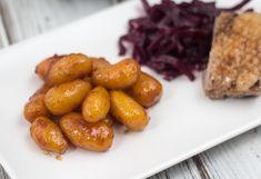 Recipe for Homemade Danish Sugar Browned Potatoes for Christmas.