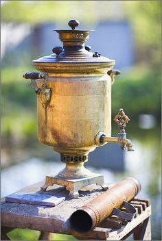 Russian Samovar ~ A samovar is a heated metal container traditionally used to…