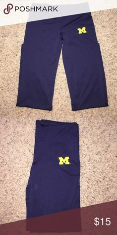 University of Michigan yoga pants Great condition, blue spandex yoga pants, size small, very comfortable. Pants Leggings