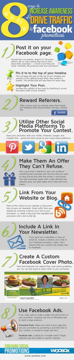 www.socialmediamamma.com  8 tips for driving traffic to your #Facebook promotions #infographic #socialmedia
