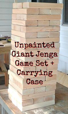 SET- Unpainted Giant Jenga + Carrying Case, Lawn Games, Life Size Jenga, Backyard Fun, Party Game, Camping Activities, Gift, Outdoor Game