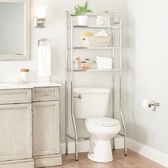 Over Toilet Storage Cabinet, Above The Toilet Storage, Over The Toilet Rack, Toilet Shelves, Bathroom Shelves Over Toilet, Small Bathroom Storage, Bathroom Organisation, Glass Shelves, Toilet Sink
