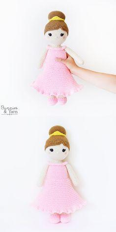 Crochet Pattern - Lillian the Princess Doll - Amigurumi Yarn Needle, Needle And Thread, Half Double Crochet, Single Crochet, Pink Chalk, Black Thread, Pink Eyeshadow, Cute Dolls, Stitch Markers
