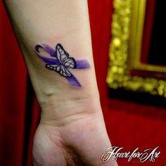 alzheimers tattoo   lupus/Fibro ribbon tattoo