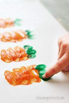 Carrot art for kids ~ Easter Handprint Art