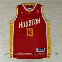 maillot nba pas cher retro Houston Rockets Harden #13 Rouge nouveaux tissu 22,99€