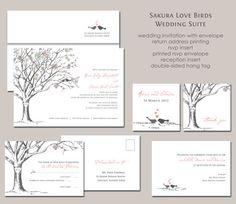 Sakura Cherry Blossom Love Birds Wedding Invitation Suite; Spring blooms!  Simple and elegant.