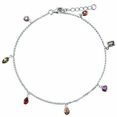 Sterling Silver 925 Multicolor Cubic Zirconia CZ Anklet Ankle Bracelet BERRICLE. $38.69. Metal : Stamped 925. Gender : Women. Stone Type : Cubic Zirconia. Stone Total Weight (ct.tw) : 1.6