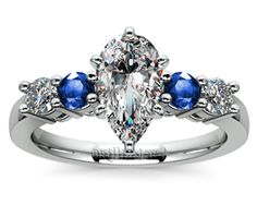 Pear Round Diamond & Sapphire Gemstone Engagement Ring in White Gold  http://www.brilliance.com/engagement-rings/round-diamond-sapphire-gemstone-ring-white-gold