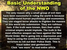 Basic understanding of the New World Order   Follow us: www.facebook.com/Citizens.Action.Network