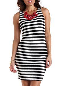 Ribbed & Striped Midi Tank Dress: Charlotte Russe