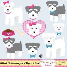 Miniature Schnauzer Dog Clip Art Digital Art by BeckyLynnCreations