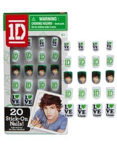 1D Fake Nails | Nail Polish & Kits | Beauty | Shop Justice| omg I want these so bad Liam is my favorite