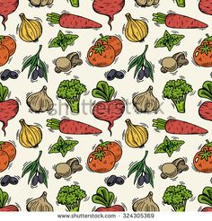 Seamless pattern with vegetables. Hand drawn vegetables made in vector. Can be used for menu, background and other design. - stock vector