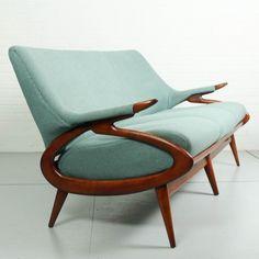 Vintage Blue Woolfelt Sofa, 1950s