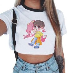 d06f0c2e80ee BTS Kpop Women Fashion BT21 Sweatshirts Crop Top 2018 Pullover Outwear  Hip-Hop Bangtan Boys Clothes Ropa Streetwear Roupas Shirt