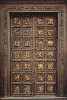 North doors of the Baptistry (Florence) by Lorenzo Ghiberti.The first door of Lorenzo Ghiberti north side) Wooden Door Design, Main Door Design, Front Door Design, Wooden Doors, Lorenzo Ghiberti, Motif Art Deco, Cool Doors, Boston Public Library, Pooja Rooms