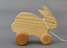 Rabbit Pull Toy Hopping Bunny Wooden Animal On Wheels Gift For Toddlers Boys…