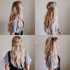 # types of Braids simple 10 Glamorous Braided Hairstyle Tutorials! Wavy Hairstyles Tutorial, Easy Hairstyles For Long Hair, Braided Hairstyles Tutorials, Braids For Long Hair, Diy Hairstyles, Medium Wavy Hairstyles, Casual Braided Hairstyles, Wavy Hair With Braid, Viking Hairstyles